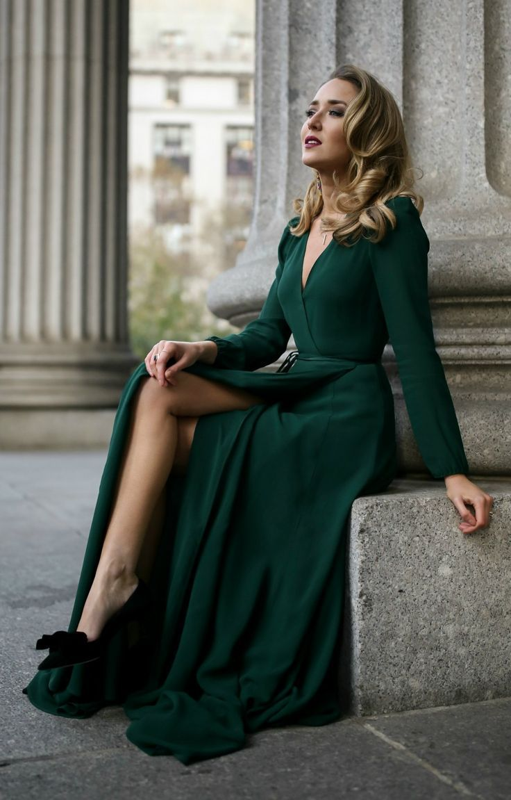 Emerald Green Long Sleeve Floor Length Wrap Dress Black And Gold