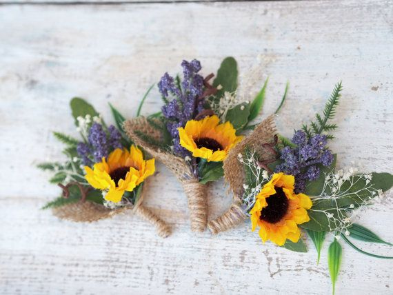 Sunflower Wedding Boutonniere Sunflower Men by TwoCatsAndAnOwl