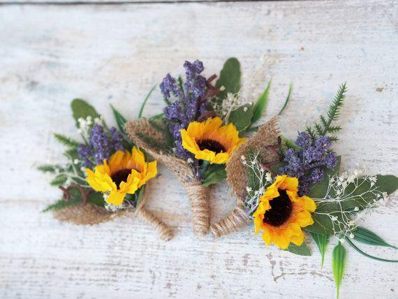 Sunflower Wedding Boutonniere Sunflower Men by TwoCatsAndAnOwl