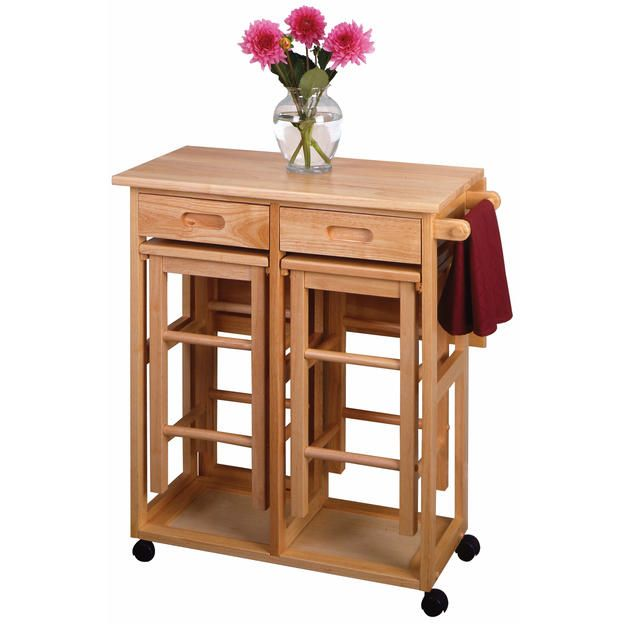 Winsome Winsome Space Saver, Drop Leaf Table with 2 Square Stools