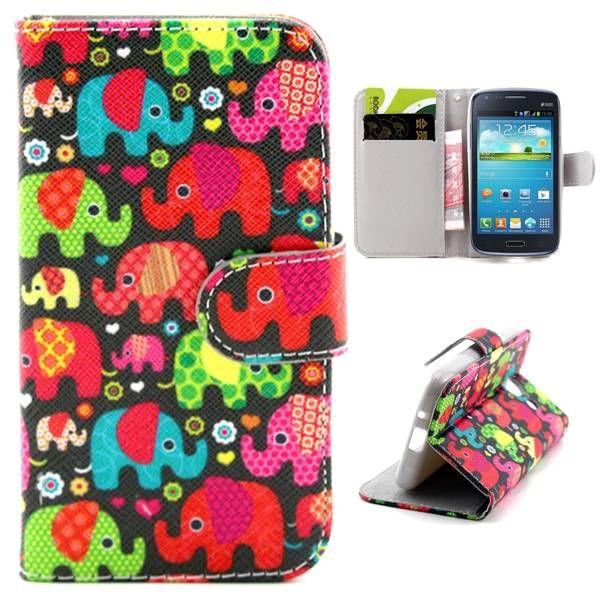Kleurrijke olifanten bookcase voor Samsung Galaxy Core