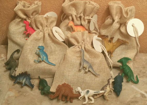 Set of 12 Mini Dinosaur filled goody burlap bags with tags for Jurassic birthday party candy favor treat or baby shower decor Jurassic World Park party decor paleontology paleontologist theme gender reveal retirement candy station