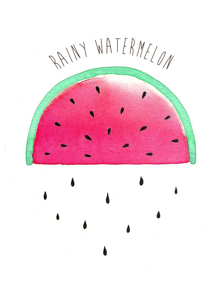 {Aquarelle }  Rainy watermelon