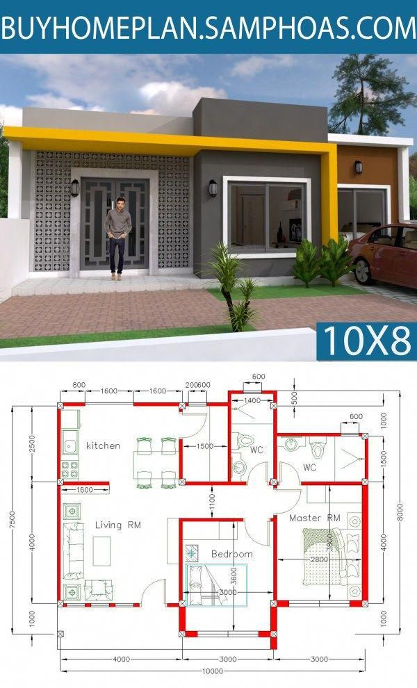 Simple Home Design Plan 10x8m With 2 Bedrooms Samphoas Com Simplebedroom Simple House Design Small Modern House Plans Small House Design Plans