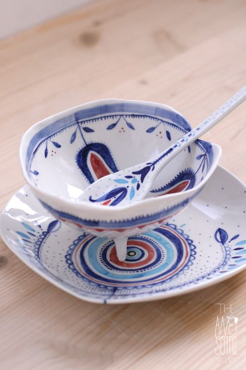 Romanian folklore inspired unique porcelain bowl | plate | spoon by Madalina Andronic -   underglaze decoration + dishwasher safe