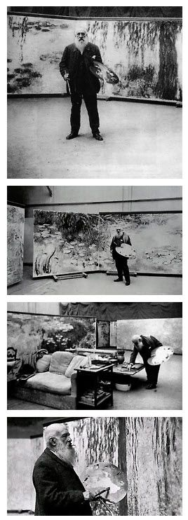 Four photographs of Monet in his Studio at Giverny by Henri Manuel