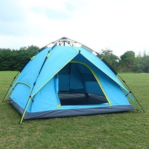 Family Camping Tent Picnic Outdoors Canopy Blue 2-3 Person Tunnel Dome Pop Up #FamilyCampingTent