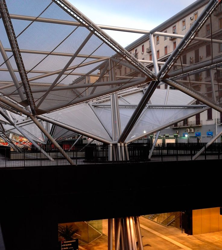 dominique perrault floats angular canopy over piazza garibaldi station in naples