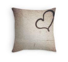 Love heart painted on urban city wall silver gelatin black and white 35mm negative analog film photograph Throw Pillow