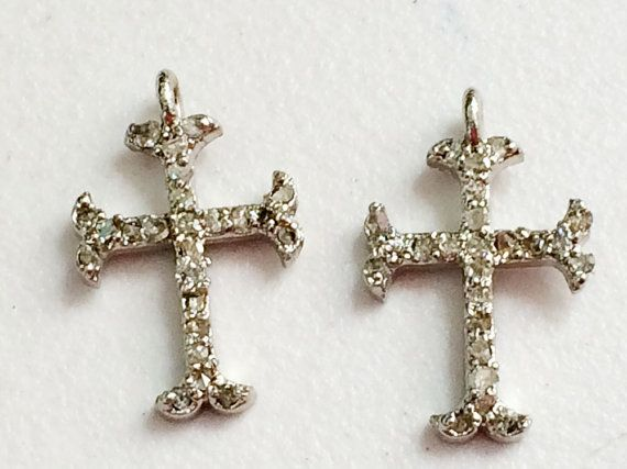 Pave Diamond Charm Pendant Diamond Cross 925 by gemsforjewels