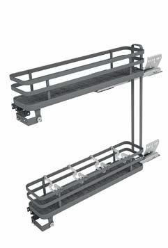 Pull-out baskets with soft-closing runners for base unit  15cm