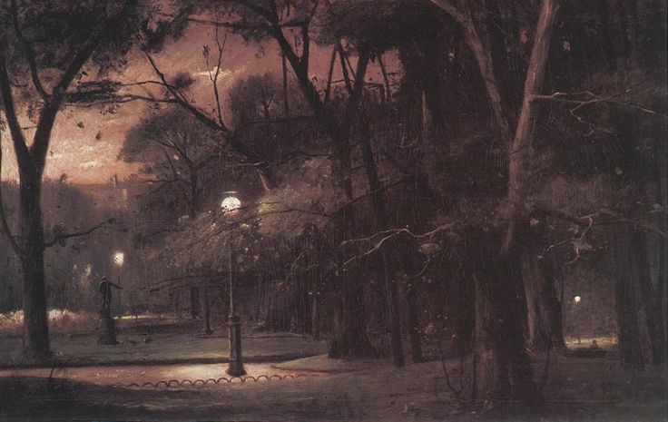 Evening in Parc Monceau 1895 painting