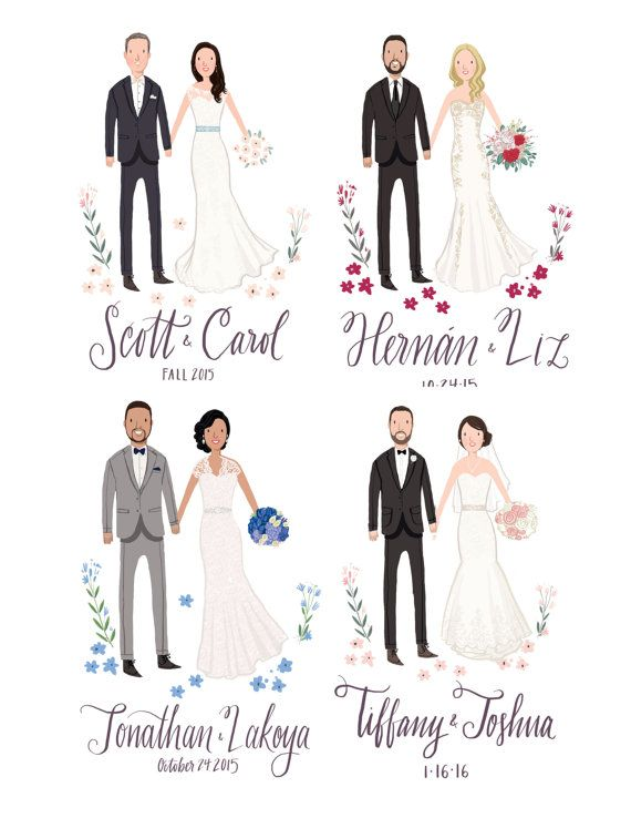 Custom Illustrated Wedding Guest Book by kathrynselbert on Etsy