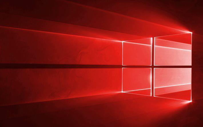 Descargar fondos de pantalla Windows 10, logotipo rojo, sobre fondo rojo, de neón del logotipo de Windows, Windows