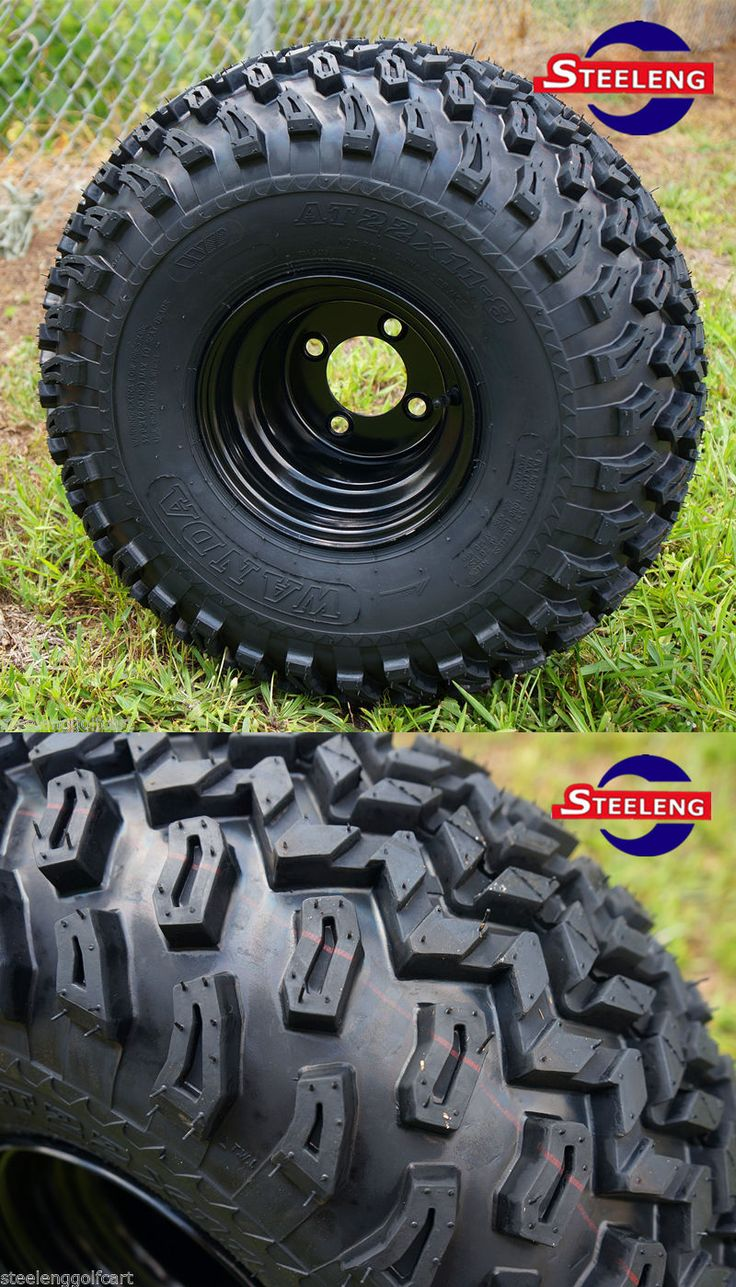 Other Golf Accessories 1514: Golf Cart 8X7 Black Steel Wheels And 22 All Terrain Tires (Set Of 4) BUY IT NOW ONLY: $322.0