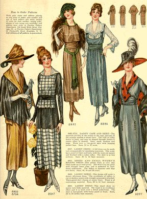 1910's fashions, also hairstyles, accessories, & make-up through the 50's