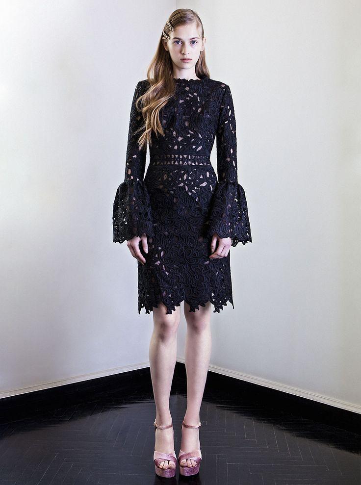PR 1743 Guipure Lace Flared Cuff Dress, Black