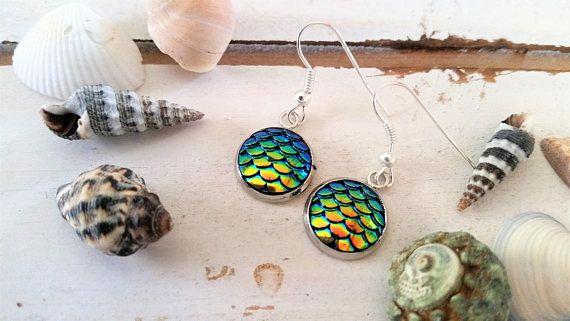 Turquoise/yellow mermaid scales charm earrings   mermaid