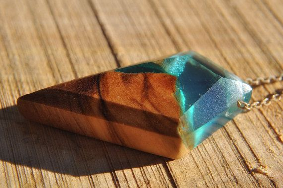 Triangle blue Resin Wood Necklace, Resin Pendant, Elegant Necklace, Olive Wood Necklace, Gift For Her, One of a Kind, Valentine's