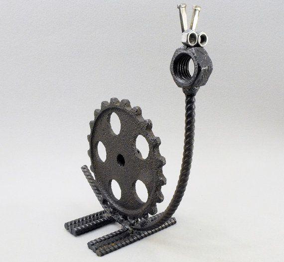 Whimsical Metal Yard Art | Welded Metal Folk Yard Art Snail Sculpture assembled from Gears, Rebar ...