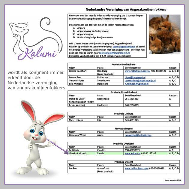 Trimsalon Kalumi wordt als konijnentrimmer erkend door de Nederlandse vereniging van angorakonijnenfokkers.