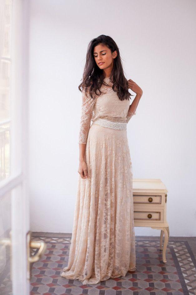 Czeski szampana koronki suknia ślubna z rękawami - Mimetik_Bcn - Suknie ślubne