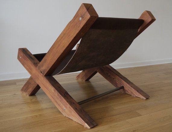 Reclaimed Hout en leder Lounge stoel. Handgemaakte door TicinoDesign