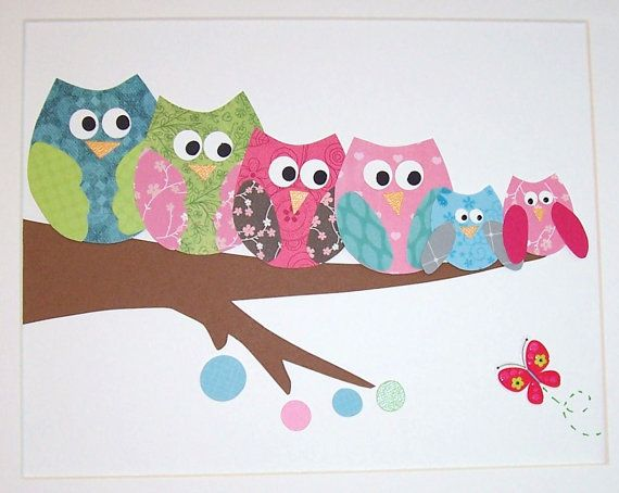 A happy family of owls-Children's Wall Art Nursery Decor Baby Room Decor by vtdesigns, $14.00