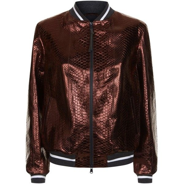 Brunello Cucinelli Metallic Python Bomber Jacket ($11,320) ❤ liked on Polyvore featuring outerwear, jackets, brown bomber jacket, snake print jacket, brown jacket, metallic jackets and flight jackets