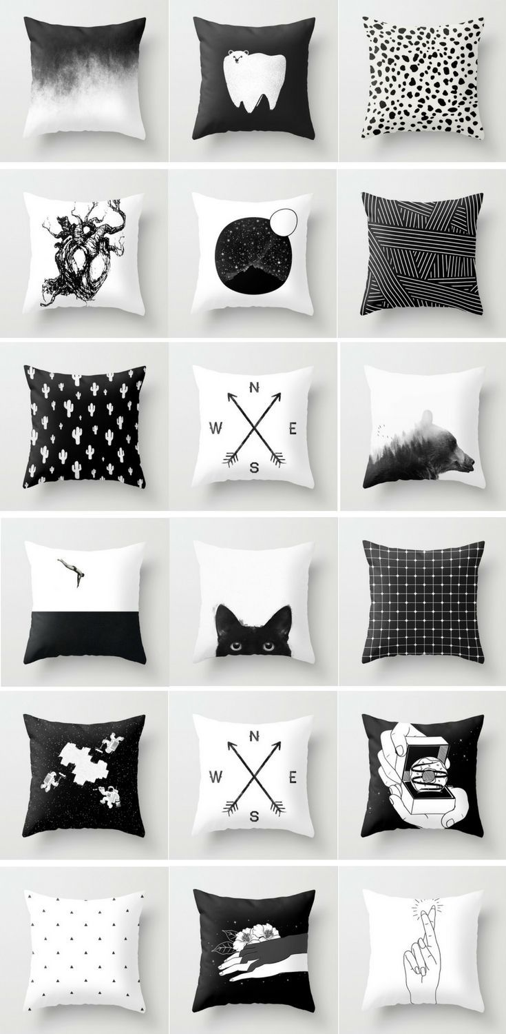 Black White Pillows Pillow Couch Decor Decoration Quote Decorative Cute Throw Case Cover Covers Fluffily Tumb Black And White Pillows Couch Decor White Pillows