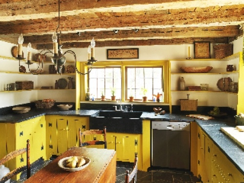 41 best images about yellow kitchens on pinterest for Rustic yellow kitchen