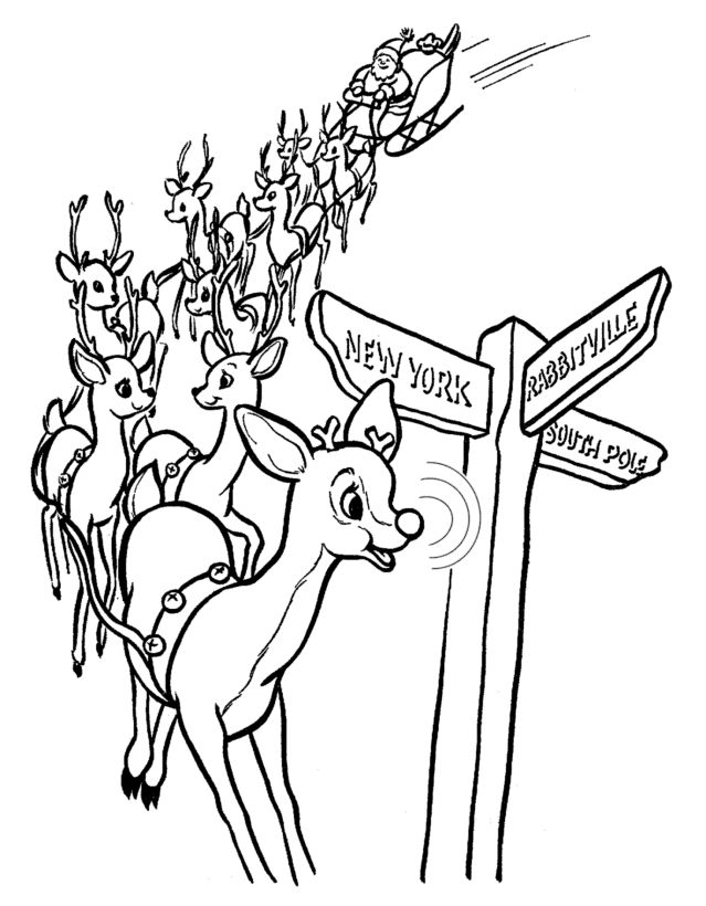 rudolph the red nose reindeer coloring page rudolphs nose lights the way coloring sheet - Rudolph The Red Nosed Reindeer Coloring Pages 2