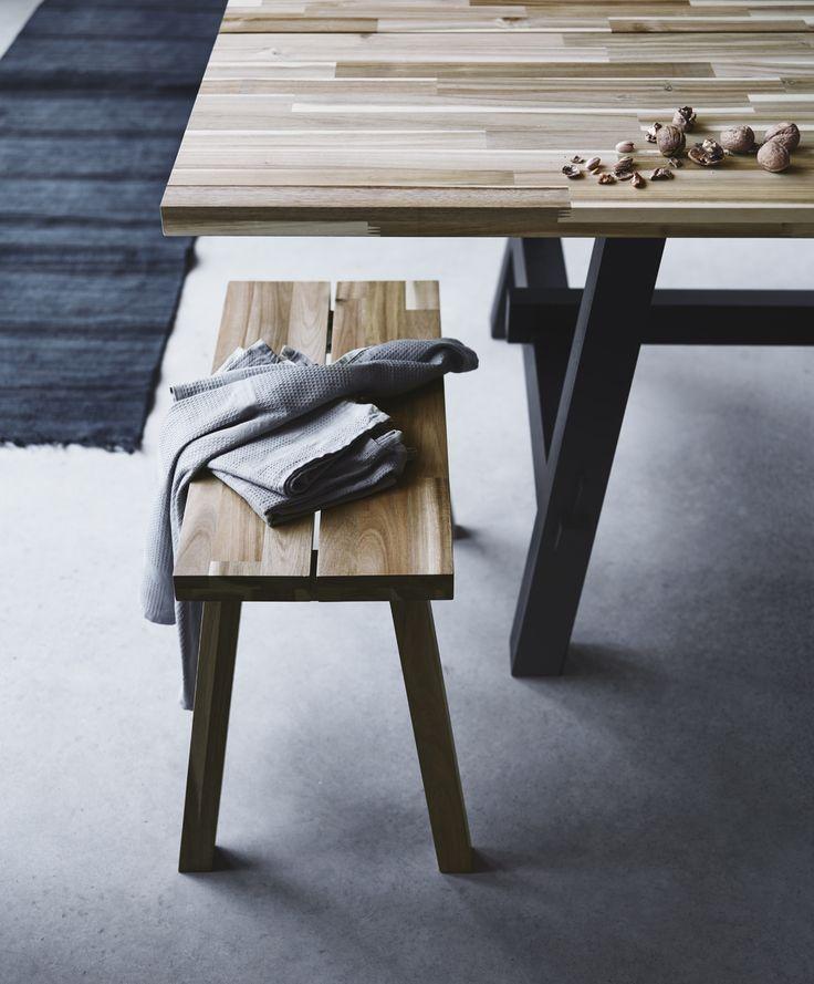 SKOGSTA bank | #IKEA #IKEAnl #bankje #eettafel #tafel #dineren #acaciahout #duurzaam