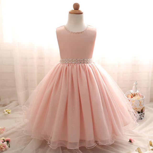 2016 Mais Novo Elegante do Outono Do Bebê Meninas Vestido de Verão Crianças Roupas de Menina Rosa Vestido de Princesa Trajes Para Festa de Aniversário de Casamento