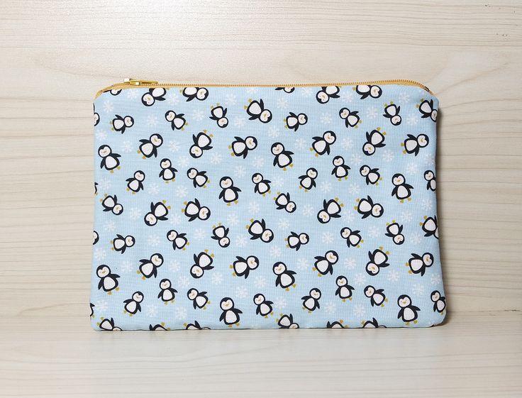 Pochette/Astuccio/Bustina in cotone americano turchese con accessori cucito e zip : Astucci di misswonderrain
