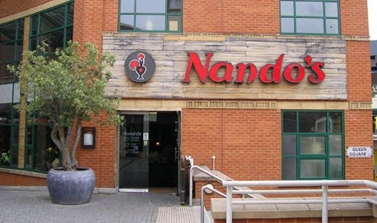 Nando's is a sort of fast food, sort of sit down Portuguese chicken restaurant originally from South Africa. Everyone in England loves it.