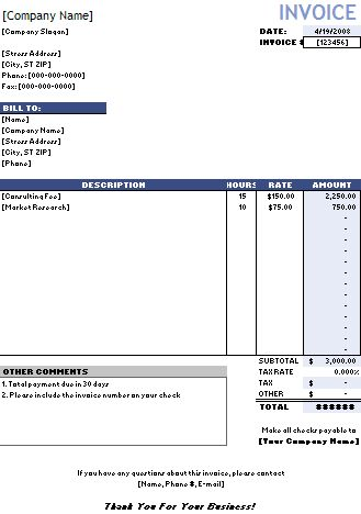 Hourly Invoice Template Hourly Rate Invoice Templates Free ...