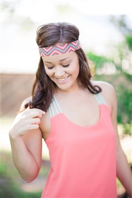 Aztec Strappy Top in Coral