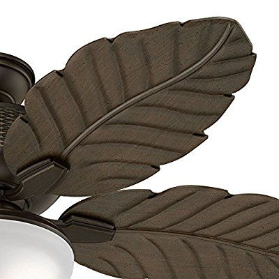 """Hunter Fan 52"""" Outdoor Tropical Ceiling Fan in Brushed Cocoa with LED Lighting and Remote Control (Certified Refurbished)"""