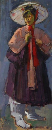 Vrouw in Koreaanse kleding van Ruud Ritsma | Portrtet van Sook in Koreaanse kleding