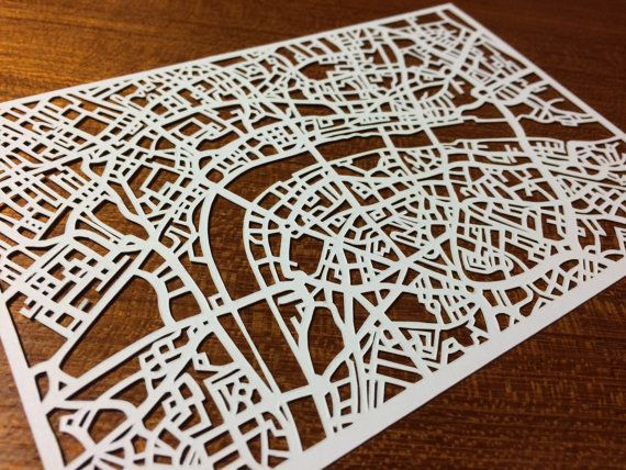 Paper cut map of London UK 4x6 by CUTdesignsrt on Etsy