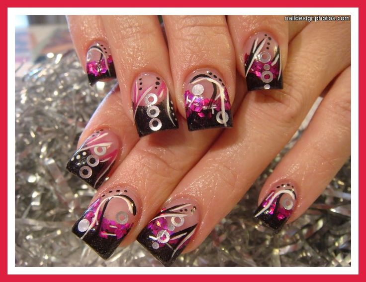 Wild and Crazy!!! Pink and black with encapsulations - 34 Best Encapsulated Nail Obsession! Images On Pinterest Nail