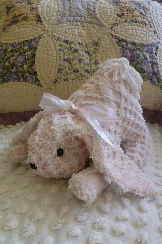 Upcycled Vintage Chenille Bedspread Bunny Pink Amp White