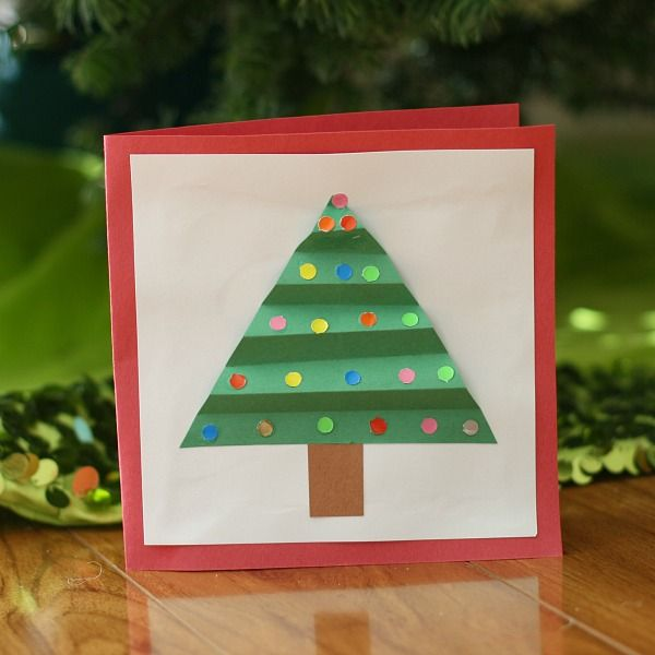 One of our favorite Christmas crafts for kids is making homemade Christmas cards! This cute Christmas tree card can be adapted for a wide variety of ages!
