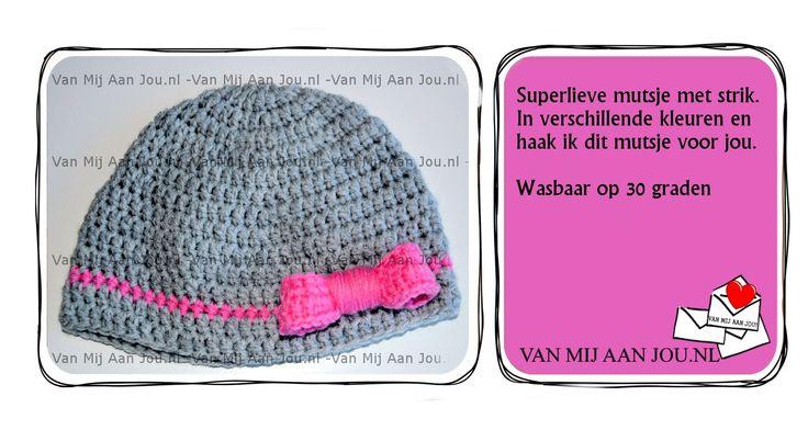 newborn baby peuter en kleuter maat - meisje - mutsje met strik  - muts op bestelling gehaakt - met de hand op maat en kleur gehaakt - www.vanmijaanjou.nl -