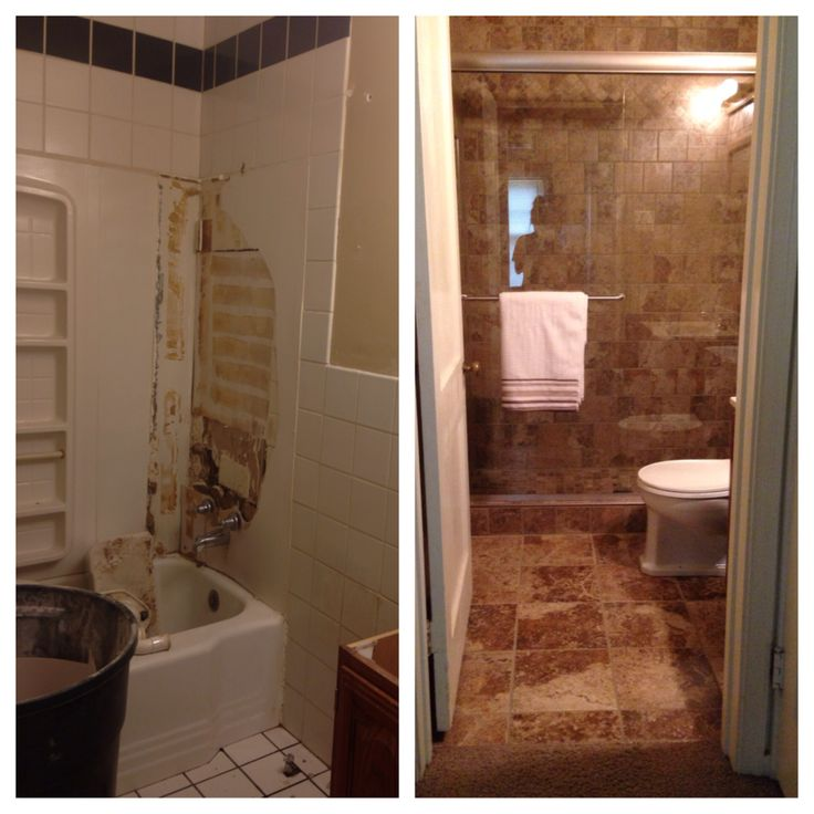 Before & After remodel.... It IS possible!!  -SchluterKerdi System -Fusion Pro grout (light smoke)  -Marazzi Montagna Tile  (Supplies from Home Depot)