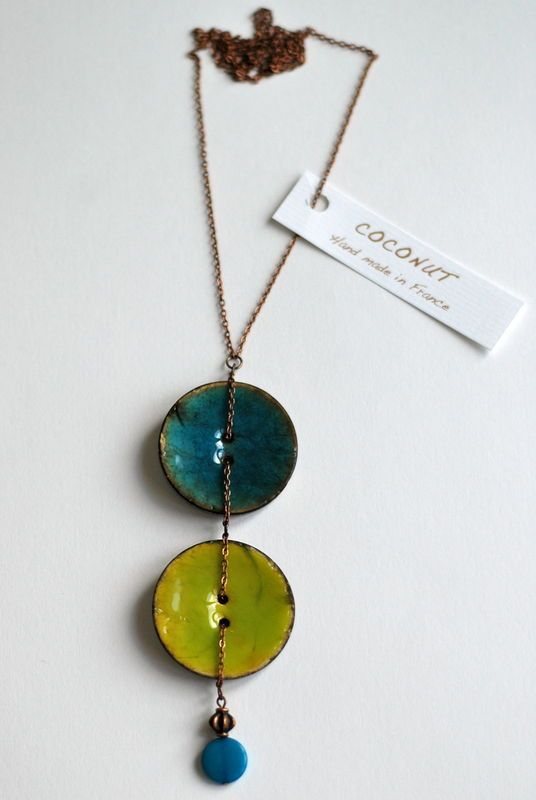 collier boutons coco turquoise/vert