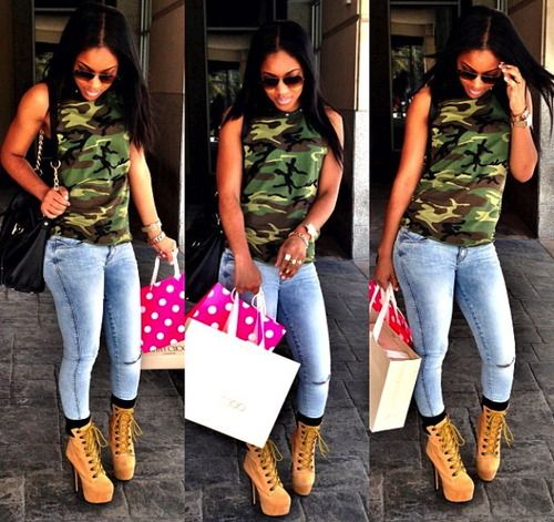 camo + jeans + timbaland heels <3 .. be cute with the timbaland boots also