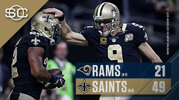 The Saints' rack up 49 points, the most a team has scored in a game this season, behind a 5 TD performance from Drew Brees. 11/27/16