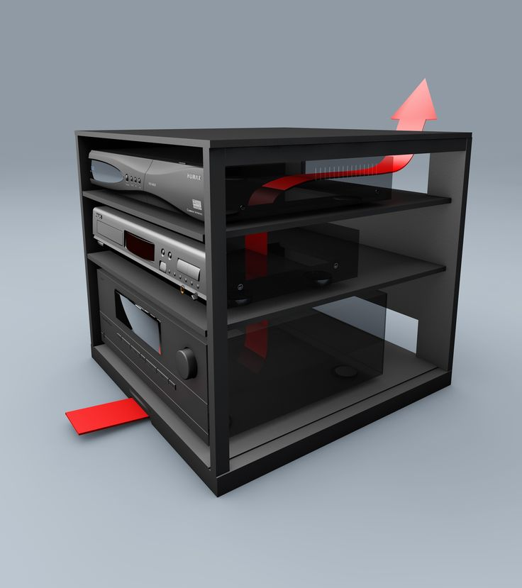 3d Model Showing The Airflow Through A Audio Cabinet.